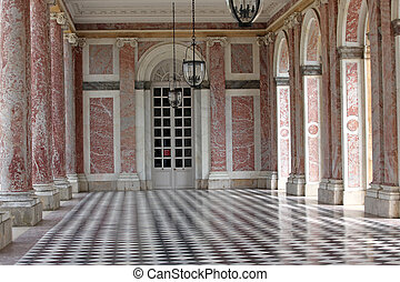 Colonnaded the Grand Trianon in Palace Versailles, France....