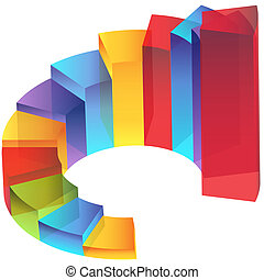 colonne, étape, transparence, escalier, diagramme