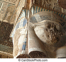 colonne, 2, dendera, temple
