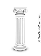 colonne, blanc, isolé, fond, marbre