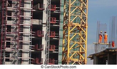 colonne, constructeur, métal, deux, carcasse