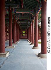 colonne, corridoio, ripetere, gyeongbokgung