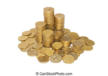 colonne, doré, pièces