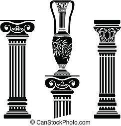 colonne, e, ellenico, brocca