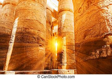 colonne, grès, egypt., hiéroglyphes, couvert, colonnes