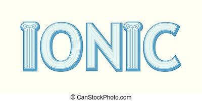 colonne, isolé, ionique, architecture grecque, fond, blanc, ordre