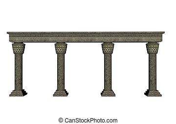 colonne, mur, -, render, 3d