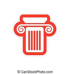 colonne, papier, grec, fond, autocollant, blanc