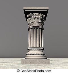 colonne, pierre, -, render, 3d