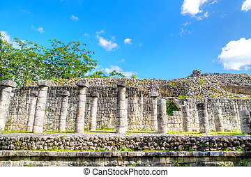 colonne, scolpito, antico, itza, tempio, chichen, rovine, messico