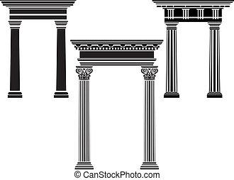 colonne, stencil, ensemble, classique