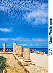 colonnes, ancien, parc, national, caesarea