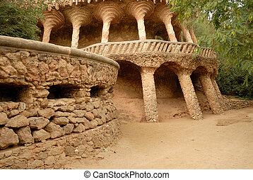 colonnes, conçu, par, antoni, gaudi., parc, guell, dans, barcelone, espagne
