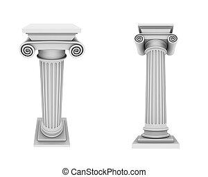 colonnes, deux vues, marbre