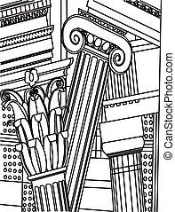 colonnes, grec, vecteur, ionique