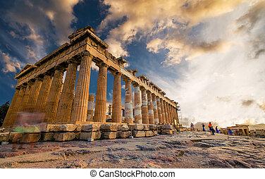 colonnes, parthenon, coucher soleil