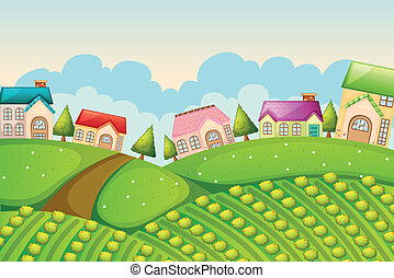 colony of houses in nature - illustration of a colony of...