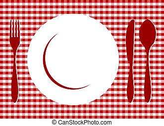 coloque, ligado, tablecloth vermelho