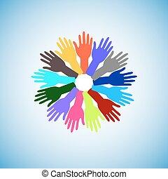 coloré, élévation, mains
