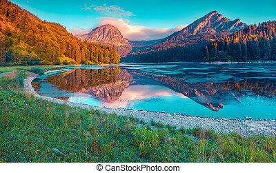 coloré, été, levers de soleil, sur, les, incredibly, beau, suisse, lac, obersee