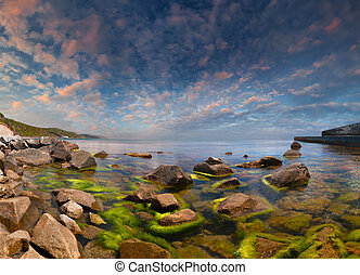 coloré, été, seascape., levers de soleil