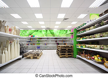 coloré, étagères, intérieur, pot fleurs, supermarché, grand,...