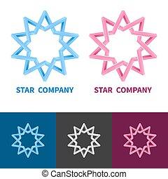 coloré, étoile, gradient, set., impossible, logotype, variants., vecteur, noir, blanc, logo, géométrique