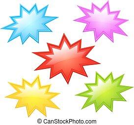 coloré, étoile, icônes