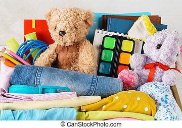 coloré, ados, enfants, stationery., jouets, ou, vêtements