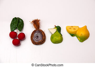 coloré, aimants, fruits