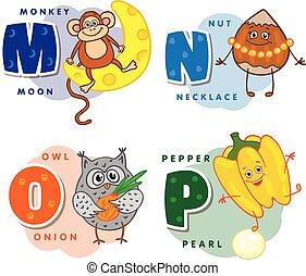 coloré, alphabet, m, o, n, p, lettre, enfants