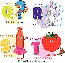 coloré, alphabet, q, s, r, t, lettre, enfants