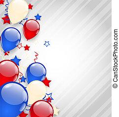 coloré, américain, 4ème, fond, juillet, ballons