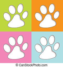 coloré, animal, patte