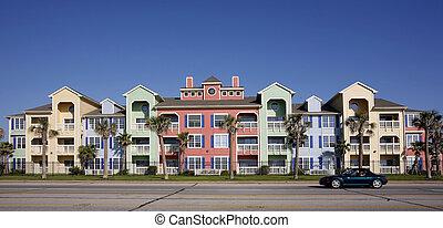 coloré, appartements, (condo)