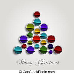 coloré, arbre, joyeux, fond, brin, élégant, noël, icône, cercle, vecteur