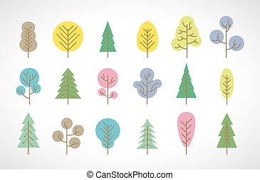 coloré, arbres, ensemble, multi, grand