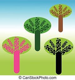 coloré, arbres, fond