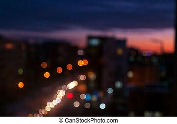 coloré, arrière plan flou, night., ville, bokeh.