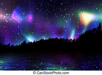 coloré, aurore boréale
