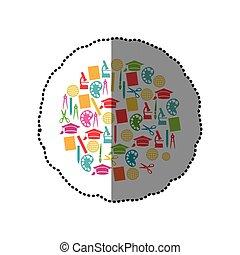 coloré, autocollant, ensemble, de, étude, icônes, dans, cercle, forme