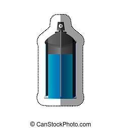 coloré, autocollant, pulvérisation, interne, boîte aérosol, bouteille, vue