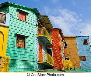 coloré, bâtiments, dans, boca