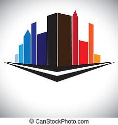 coloré, bâtiments, de, cityscape, reglage urbain, à, grand, gratte-ciel, tours, et, rue, dans, rouges, orange, brun, bleu, et, pourpre, couleurs