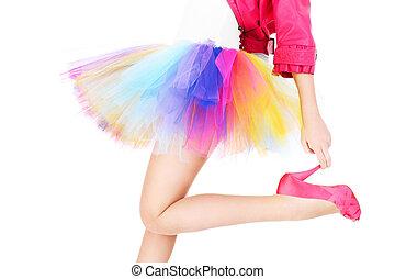 coloré, ballerine, femme, jupe