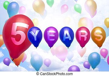 coloré, balloon, années, anniversaire, 5, ballons, heureux