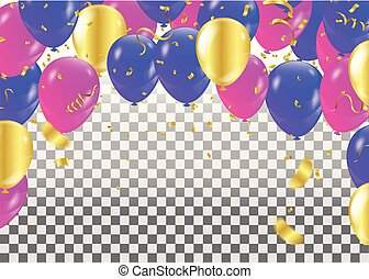 coloré, bannière, isolé, illustration, arrière-plan., vecteur, ribbons., confetti, fête, ballons