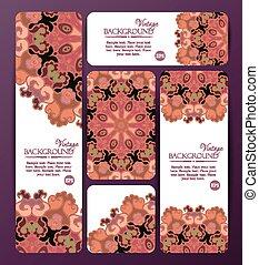 coloré, bannières, business, cartes., décoratif, templates., collection, vendange