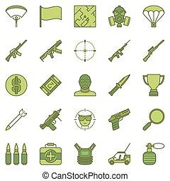 coloré, bataille, icônes, royale, jeu, vecteur, ensemble, ...