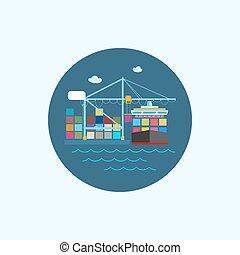 coloré, bateau, illustration, récipient, icône, vecteur, cargaison, grue